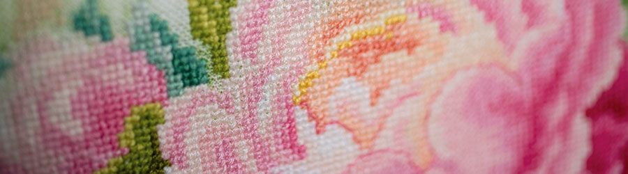 Counted cross stitch kit Bouquet of peonies_detail