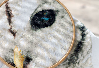Counted cross stitch kit Owl white