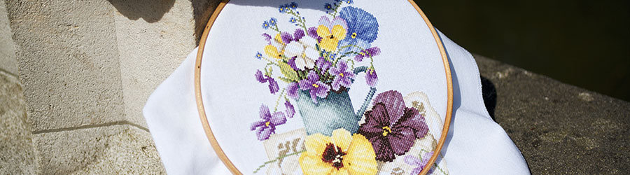 Counted cross stitch kit Violets